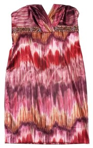 David Meister short dress Multi Color Print Embellished Strapless on Tradesy
