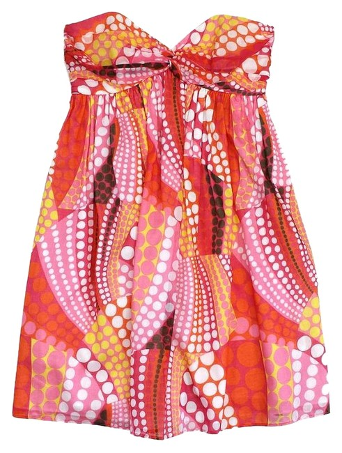 Preload https://item2.tradesy.com/images/milly-orange-and-pink-print-cotton-strapless-mini-short-casual-dress-size-2-xs-15721261-0-1.jpg?width=400&height=650