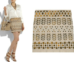 Diane von Furstenberg Tribal Cut-out Mini Mini Skirt Beige