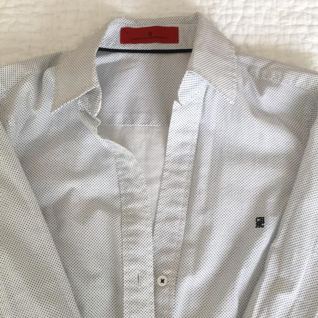 Carolina Herrera Button Down Shirt White with blue dots