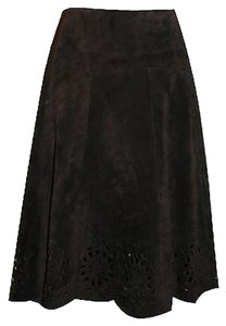Lilly Pulitzer Pulizter Suede Skirt Chocolate Brown