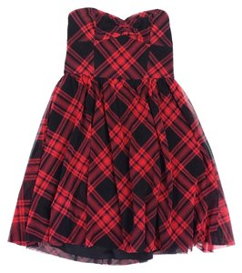 Betsey Johnson short dress Red & Black Plaid Strapless on Tradesy