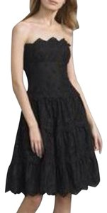 BCBGMAXAZRIA Eyelets Strapless Tiered A-line Knee-length Dress