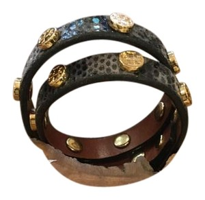 Tory Burch Print leather double wrap bracelet