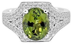 Avi and Co 3.93 cttw Oval Shape Peridot in Round Diamond Accented Ring 18K White Gold
