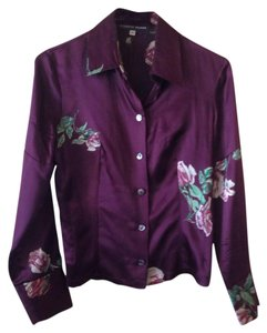 Roberto Musso Floral Feminine Italian Button Down Shirt Purple