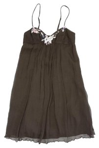 Rebecca Taylor short dress Brown Silk Embellished Spaghetti Strap on Tradesy