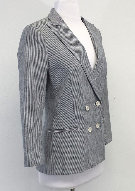 Daryl K Navy & White Pinstriped Cotton Jacket