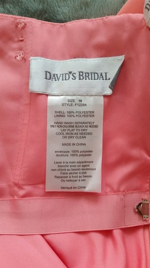 David's Bridal Coral Reef Chiffon Strapless Short F12284 Formal Bridesmaid/Mob Dress Size 16 (XL, Plus 0x)