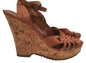 Guess Leather Cork Wedge Brown Wedges