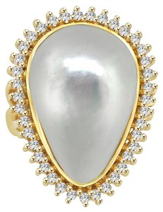 Avi and Co 1.00 cttw Round Brilliant Cut Diamond & Mabe Pearl Ring 14K Yellow Gold