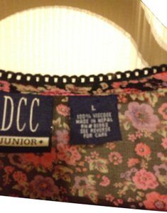 DCC Top black and rose pink print