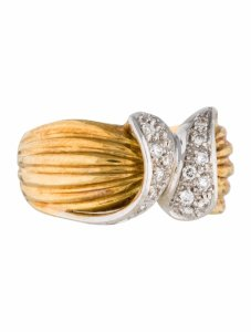 Other Estate 18k Two Tone Gold And Pav 0.25ct Diamond Ring 6.75