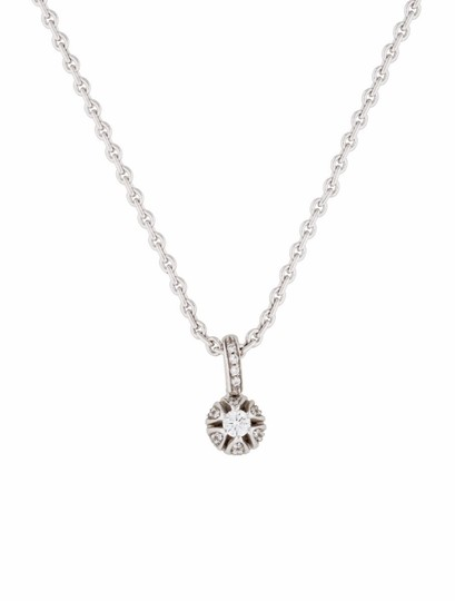 Other Estate 18k White Gold And 0.34ct Diamond Round Pendant Necklace 16