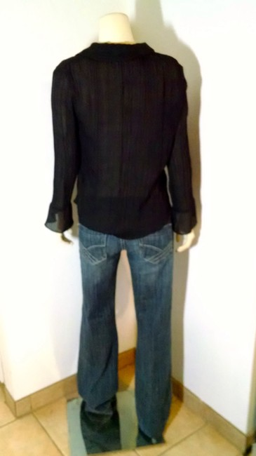 Chadwicks Button Down Long Sleeves Size 4 Top black