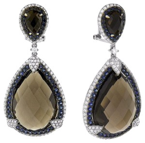 43.75ct Smokey Topaz 14k White Gold Sapphire And Diamond Drop Earrings