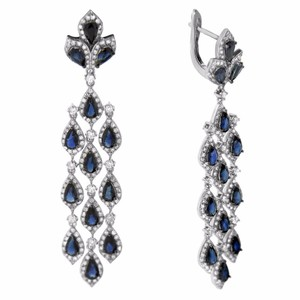 Other 6.50ct Sapphire 14k White Gold And Diamond Chandelier Earrings