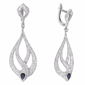 Other 3.48ct Diamond 14k White Gold And Sapphire Dangle Earrings