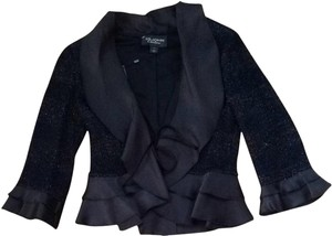 St. John Couture Shimmer Ruffle Evening Formal Black Jacket