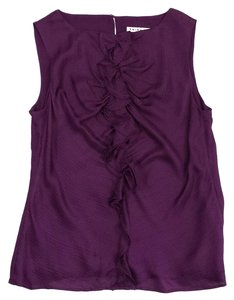Trina Turk Purple Ruffle Front Silk Top