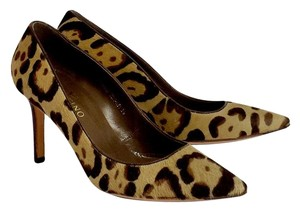 Valentino Tan & Brown Leopard Print Pony Hair Heels Pumps