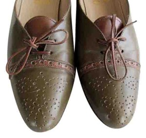 Salvatore Ferragamo Oxford Leather Green Flats