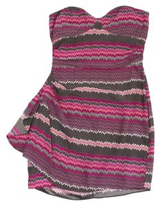 Parker short dress Grey & Pink Zig Zag Print on Tradesy