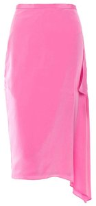Tibi Silk Draped Pencil Bright Summer Skirt Pink