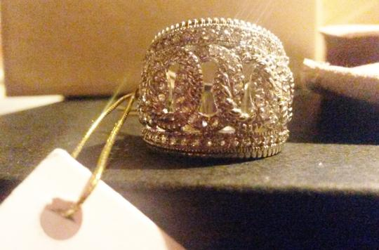 Judith Ripka Sterling Silver ring Large town & country White Sapphire size 7 Image 3
