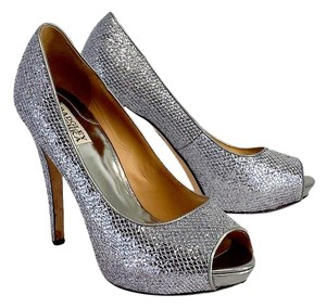 Badgley Mischka Silver Sequined Peep Toe Pumps