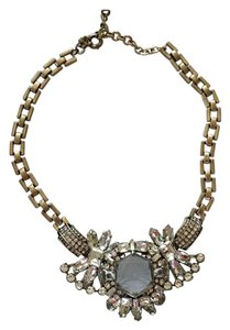 J.Crew New JCrew Statement Necklace in Clear and Gold. The larger Crystal is Clear not smokey depicted in picture.