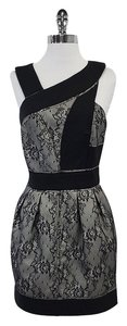 Reiss short dress Tan & Black Lace Cut Out Sleeveless on Tradesy