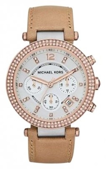 Preload https://img-static.tradesy.com/item/157243/michael-kors-vachetta-colored-leather-strap-silver-case-body-rose-gold-glitz-top-ring-style-number-m-0-0-540-540.jpg