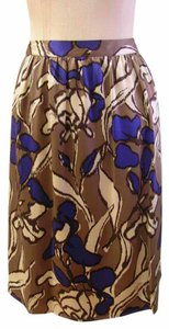 Etcetera Silk A-line Floral Abstract Painterly Skirt Multi-color