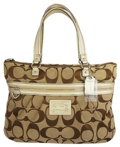 Coach Rare Weekender Signature Tote in Khaki & Gold