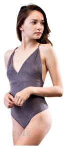 Other Bodysuit Suede Sexy Deep V Top Charcoal