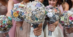 Broach And Beaded Wedding Bouquets