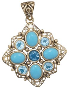 Sterling Collections Bronze Pendant with Blue Topaz and Reconstituted Turquoise