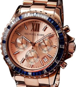 Michael Kors NIB Michael Kors Rose Gold EVEREST Blue BAGUETTE Swarovski GLITZ