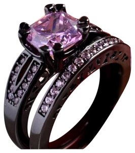 Black Gold Filled And Pink Sapphire Ring Sz 6