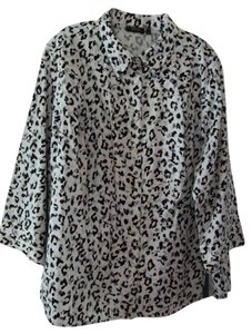 Apt. 9 Leopard Button Down Shirt White/Black/Tan