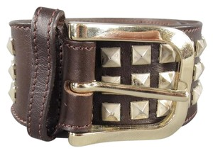 Burberry BURBERRY Size 40 Brown Leather Pyramid Studded Belt
