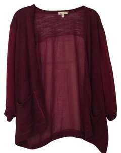 Silence + Noise Sheer Knit Maroon Cardigan