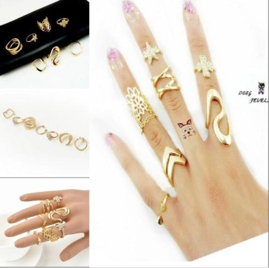 Other Women's Fashion Clover Leaf Star Joint Knuckle Nail Ring Set of 7 Rings Image 1