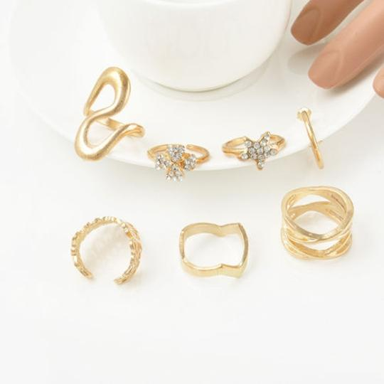 Other Women's Fashion Clover Leaf Star Joint Knuckle Nail Ring Set of 7 Rings Image 2