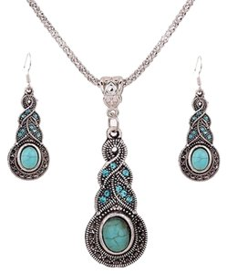 Other Womens Retro Turquoise Rhinestone Earrings Necklace Jewelry Set