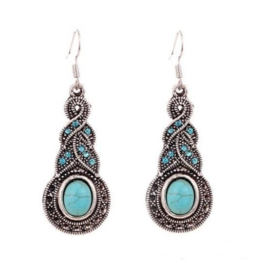 Other Womens Retro Turquoise Rhinestone Earrings Necklace Jewelry Set Image 1