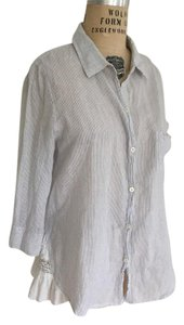 Holding Horses Whimsical Lace Crochet Pinstripe Anthropologie Button Down Shirt light blue