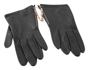 Paul Smith * Paul Smith Black Leather Swirl Zip Gloves