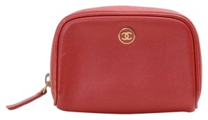 Chanel Chanel Red Leather Accessory Pouch